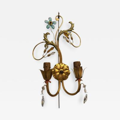 Neoclassical Sconce Handcrafted Italian Gilt Metal and Crystal by Alba a Pair