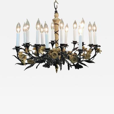 Neoclassical Style Foliate 14 Light Chandelier