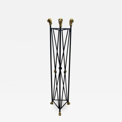 Neoclassical Style Pedestal Iron Stand with Lion Brass Heads Paw Feet