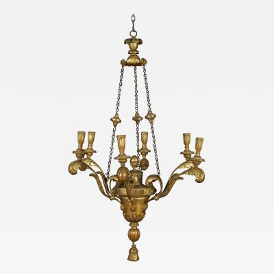 Neoclassical Vasiform Giltwood Chandelier with Original Double and Matte Gilding