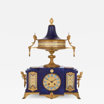Neoclassical style gilt bronze enamel and lapis lazuli mantel clock
