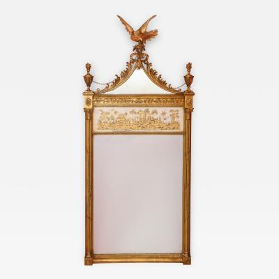 Neoclassical style mirror with verre eglomise panel