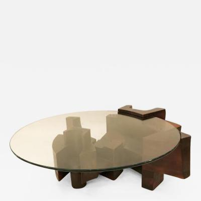 Nerone Ceccarelli Modernist Cocktail Table in Stained Wood and Glass by Nerone Ceccarelli