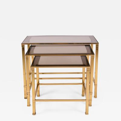 Nest of 1960s Italian brass side tables