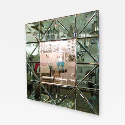 New Italian Square Mirror Light Green Geometric Pattern