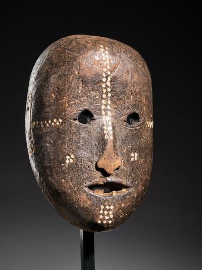 Ngbaka People DRC Ngbaka Face Mask with dotted Polychrome