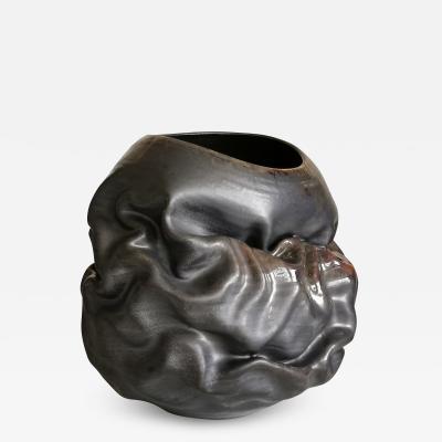 Nicholas Arroyave Portela Black Metallic Oval Dehydrated Form Vase Interior Sculpture or Vessel Objet D