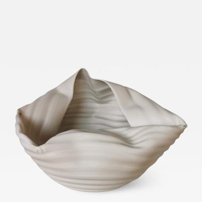 Nicholas Arroyave Portela Ribbed White Open Form Vase Interior Sculpture or Vessel Objet DArt