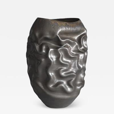 Nicholas Arroyave Portela Unique Ceramic Sculpture Vessel N 63 Black Dehydrated Form Objet dArt