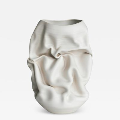 Nicholas Arroyave Portela Unique Ceramic Sculpture Vessel White Crumpled Form N 50 Objet dArt