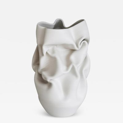 Nicholas Arroyave Portela Unique Ceramic Sculpture Vessel White Crumpled Form N 52 Objet dArt