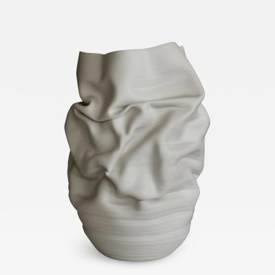 Nicholas Arroyave Portela White Deflated Crumpled Form Vase Interior Sculpture or Vessel Objet DArt