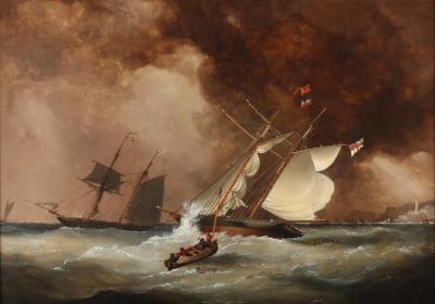 Nicholas Condy British Brigantine in Squall