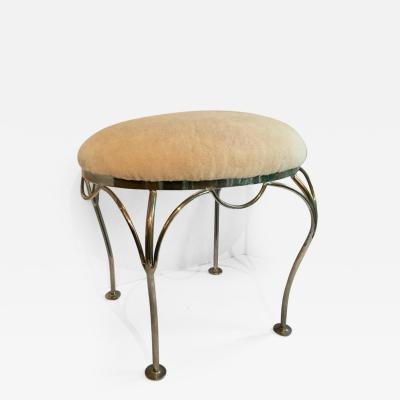 Nickel Plated Vanity Stool with Shearling Seat