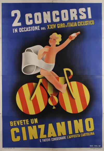 Nico Edel Large Italian Futurist Period Liquor Poster by Nico Edel 1936