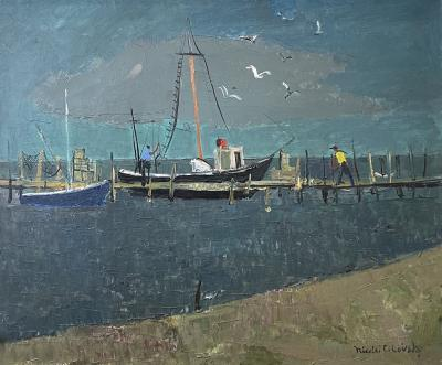 Nicolai Cikovsky Boats at Dock Montauk