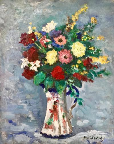 Nicolai Cikovsky Bouquet in Porcelain Pitcher