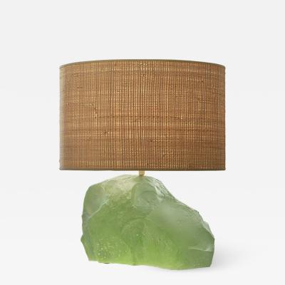 Nicolas Aubagnac AQUA Pate de verre and rabane table lamp