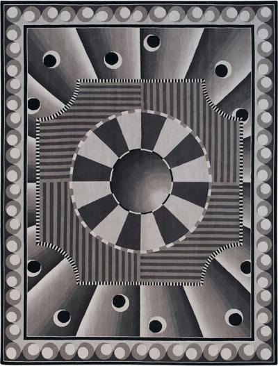 Nicolas Aubagnac CELESTE Contemporary Savonnerie black and white rug