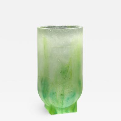 Nicolas Aubagnac NOTTE Unique green pate de verre glass vase