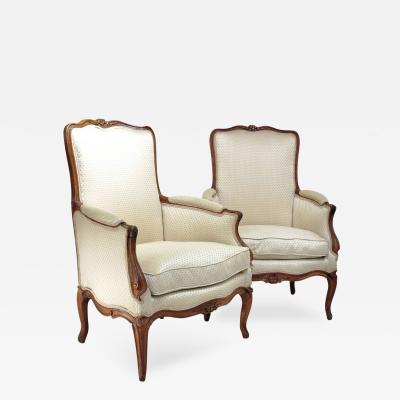 Nicolas Blanchard A Pair of Louis XV Carved Beechwood Bergeres Attributed to Nicolas Blanchard