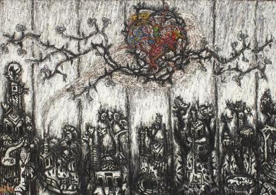 Nicolas Leiva Nicolas Leiva Abstract Modernist Oil Painting on Canvas Titled Yemaya Brutalist