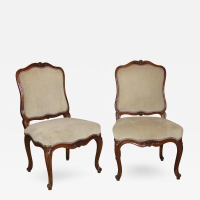 Nicolas Longe Pair of Walnut Side Chairs chaises la Reine