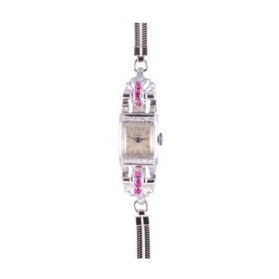 Nicolet Syn Ruby Diamond Ladies White Gold Wrist Watch