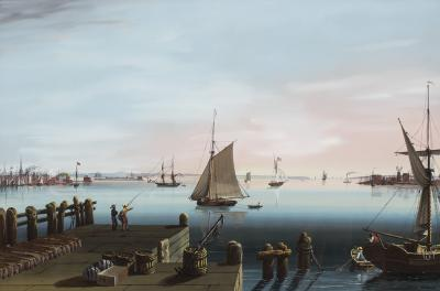 Nicolino Vicompte Calyo View of New York Governors Island and Jersey City from Hoboken