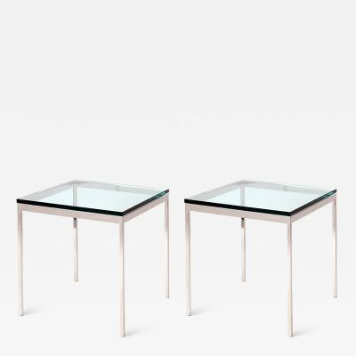 Nicos Zographos NICOS ZOGRAPHOS PAIR OF STEEL AND GLASS SIDE TABLES