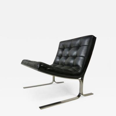 Nicos Zographos Nicos Zographos Black Leather Lounge Chair