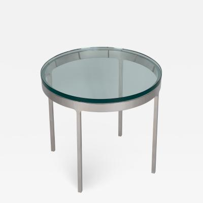 Nicos Zographos Nicos Zographos Polished Stainless Occasional Table with Glass Top circa 1970s