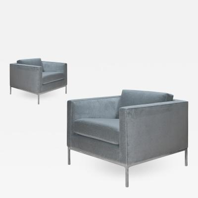 Nicos Zographos Nicos Zographos TA35 Club Chairs in Faux Mohair With Stainless Steel Bases Pair