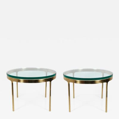 Nicos Zographos Pair of Nicos Zographos Solid Brass End Tables