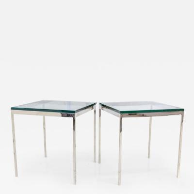 Nicos Zographos Pair of Nicos Zographos Solid Polished Steel End Tables