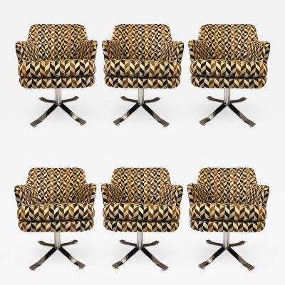 Nicos Zographos Set of Six Nicos Zographos Swivel Chairs
