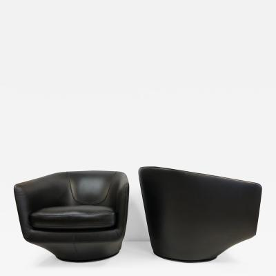 Niels Bendsten Pair Leather Swivel Lounge Chairs by Bensen
