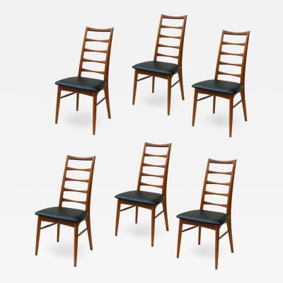 Niels Koefoed Set of 6 Danish Modern Teak Ladder Back Niels Koefoeds Dining Chairs Hornslet