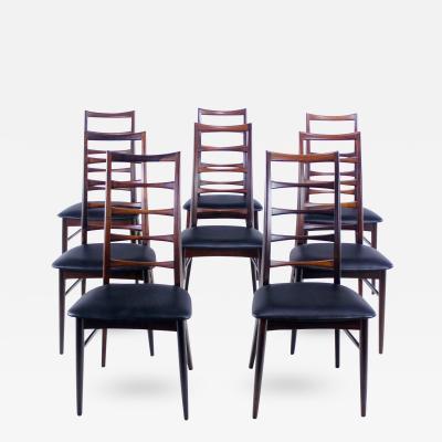 Niels Koefoed Set of Eight Danish Modern Liz Rosewood Dining Chairs by Niels Koefoed