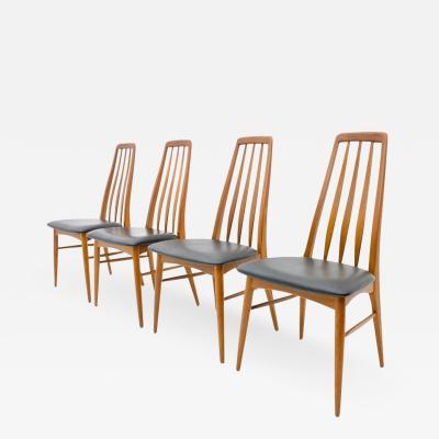 Niels Koefoed Set of Four Teak and Leather Dining Chairs Eva by Niels Koefoed Denmark