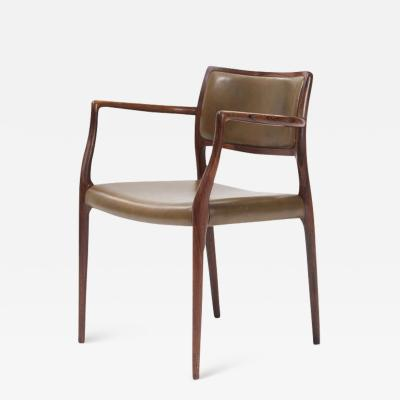 Niels M ller Niels M ller Model 65 Armchair With Olive Green Leather Seat and Back 1960s