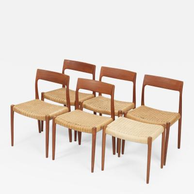 Niels Otto M ller 5 chairs Niels Otto Moller model 77 and 1 stool teak and cord weave 60s