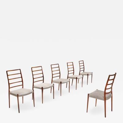 Niels Otto M ller Niels M ller Model 82 Danish Rosewood Dining Chairs 1970s