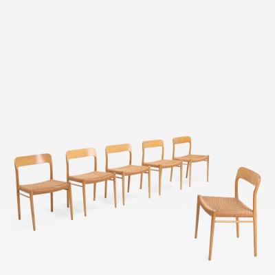 Niels Otto M ller Scandinavian Modern Chairs in Oak by N O M ller for J L Moller 1970s