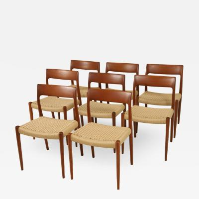 Niels Otto M ller Set of Eight Teak Cord Scandinavian Modern Dining Chairs by Niels Otto Moller