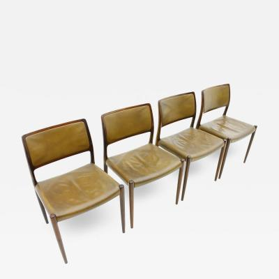 Niels Otto M ller Set of Four Niels O M ller Dining Room Chairs Model 80 Danish Modern