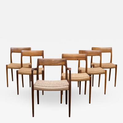 Niels Otto M ller Set of Rosewood Moller Dining Chairs