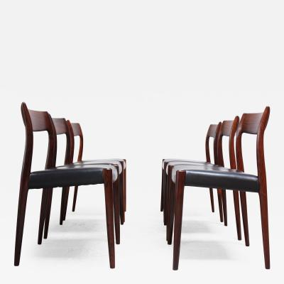 Niels Otto M ller Set of Six Rosewood 77 Dining Chairs by Niels O M ller