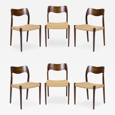 Niels Otto M ller Set of Six Rosewood Niels M ller Model 71 Dining Chairs