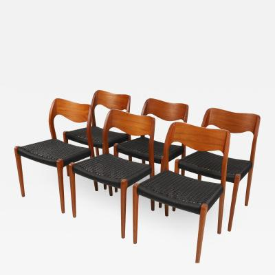 Niels Otto M ller Set of Six Scandinavian Modern Teak Cord Dining Chairs by Niels Moller